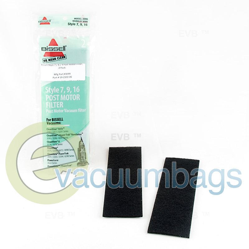 Bissell Style 7 9 16 Post Motor Filter 2 Pack 3099