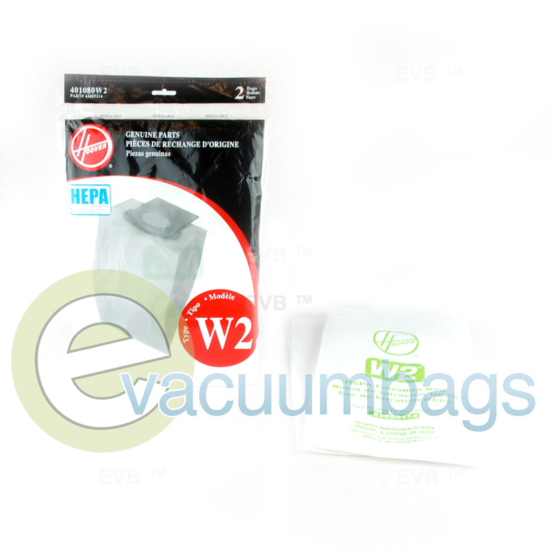 Hoover Style W2 Upright Hepa Media Paper Vacuum Bags 2 Pack 401080w2