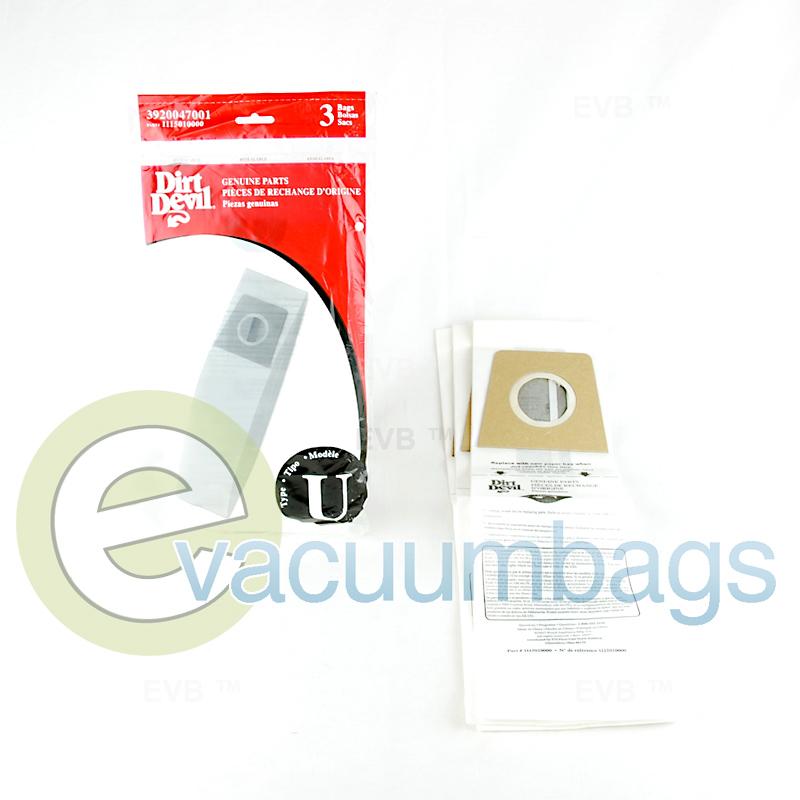 Dirt Devil Type U Vacuum Bags 3 Pack 3920047001