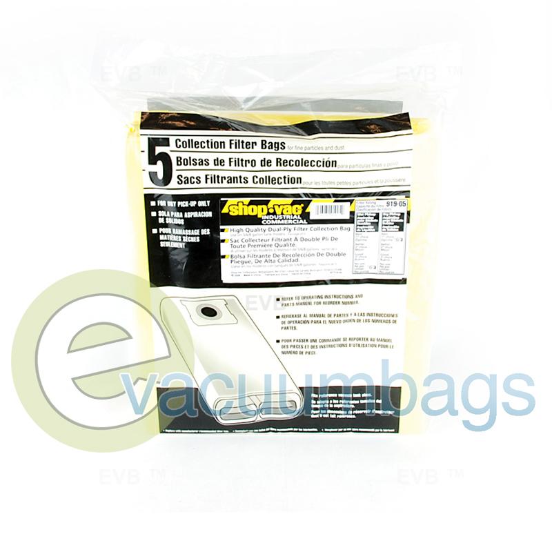 Shop Vac 5  6  8 Gallon Tank Filter Vacuum Bags 5 Pack 91905